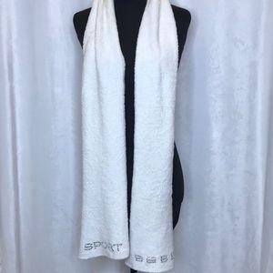 Bebe Sport crystal embellished stretch plush scarf